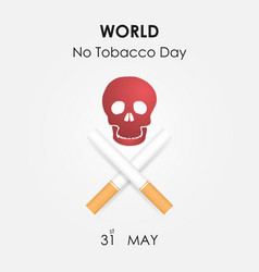 Human skull and quit tobacco signworld no tobacco vector