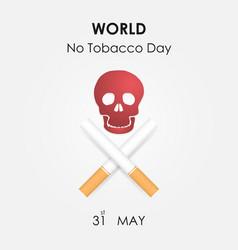 human skull and quit tobacco signworld no tobacco vector image