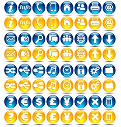 32 blue and orange icons vector