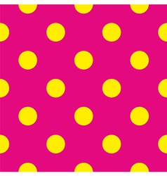 Tile yellow polka dots on pink background vector