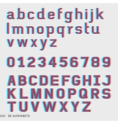 3d alphabet and numbers font style vector