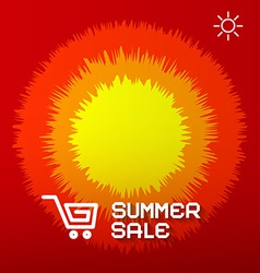 Summer sale paper title on abstract red - orange vector