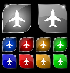 Airplane plane travel flight icon sign set of ten vector