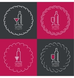 Bottle of wine with a glass wine vector
