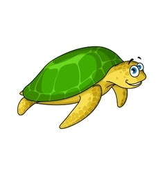 Swimming cartoon green turtle animal vector