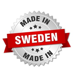 Made in sweden silver badge with red ribbon vector