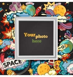 Space photo frame vector