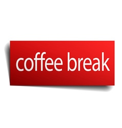 Coffee break red paper sign isolated on white vector