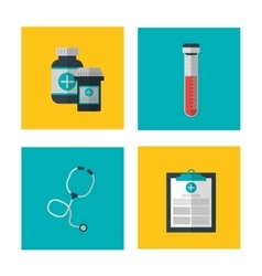 Icon set over frame medical and health care vector