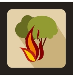 Burning forest trees icon flat style vector