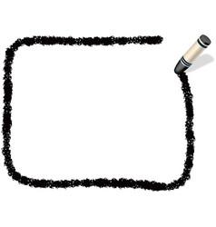 A black crayon message frame vector