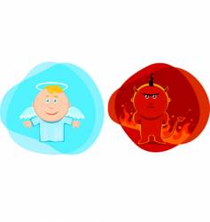 angel and devil kids vector image vector image