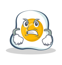 Angry fried egg character cartoon vector