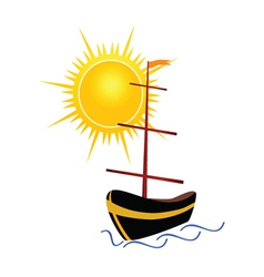 Boat with sun vector