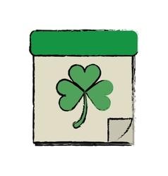 cartoon calendar clover st patrick day irish vector image