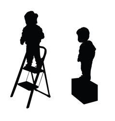 Child on stairs silhouette vector