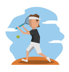 Color scene with faceless tennis player vector
