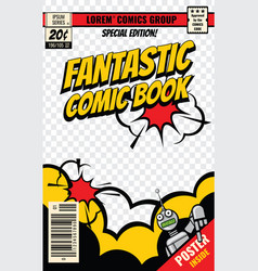 Comic book cover template vector