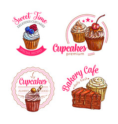 dessert cakes and cupcakes icons vector image