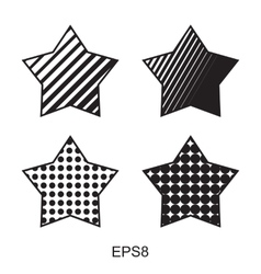 Dots star icon set vector