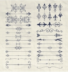Hand drawn dividers arrows swirls on notebook vector