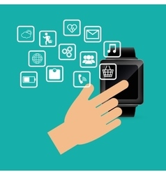 Hand touch smart watch wearable technology device vector
