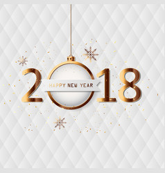 happy new year 2018 card with gold detail vector image