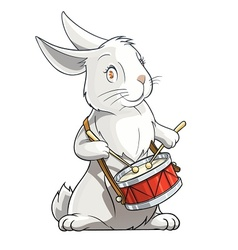 hare playing drum vector image vector image