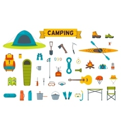 Hiking equipment and gear icon collection vector