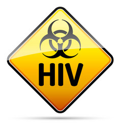 Hiv biohazard virus danger sign with reflect and vector