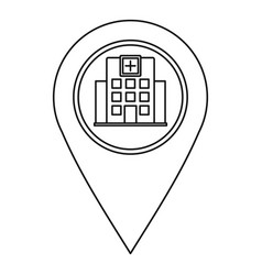 Hospital pin pointer icon outline style vector