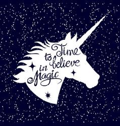 inspiring unicorn silhouette head on falling snow vector image