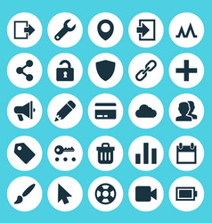 Interface icons set collection of exit amplifier vector