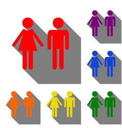 Male and female sign set of red orange yellow vector