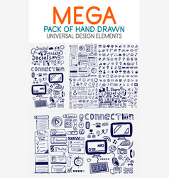 Mega collection of hand drawn technology vector
