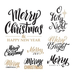 Merry Christmas AND Happy New Year Calligraphy Set vector image