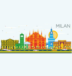 milan skyline with color landmarks and blue sky vector image vector image