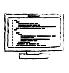 Monochrome blurred silhouette of lcd monitor with vector