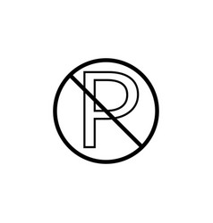 no parking line icon prohibition sign vector image vector image
