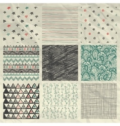 Pen drawing seamless patterns on crumpled paper vector