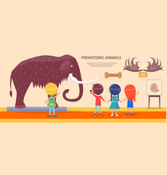 Prehistoric animals exhibition with huge mammoth vector