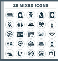 Ramadan icons set collection of abend restricted vector