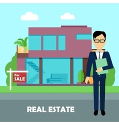 Real Estate Concept in Flat Design vector image vector image