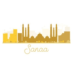 Sanaa City skyline golden silhouette vector image