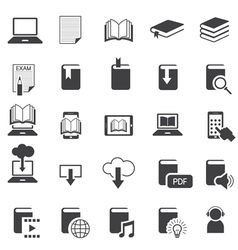 School Online E-Learning E-Book Book Icons Set vector image vector image