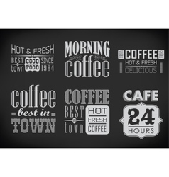 Set of coffee labels on chalkboard vector