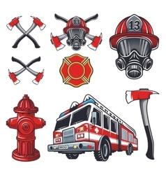 Set of designed firefighter elements vector