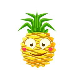 Shy funny pineapple emoticon cute cartoon emoji vector
