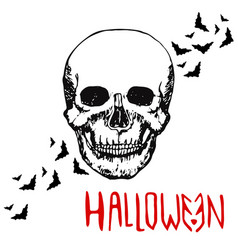 Skull head halloween background hand drawn vector