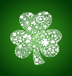 st patricks days card of white objects on green vector image vector image